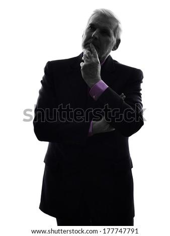 One Caucasian Senior Business Man thinking Silhouette White Background - stock photo