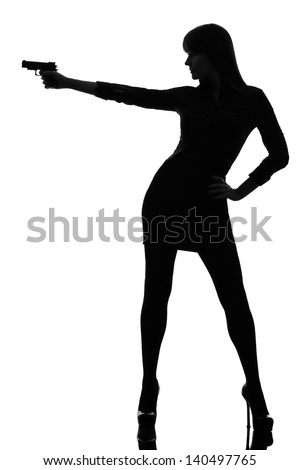 one caucasian sexy detective  woman holding aiming  gun in silhouette studio isolated on white background - stock photo