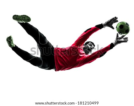 one caucasian soccer player goalkeeper man catching ball in silhouette isolated white background - stock photo