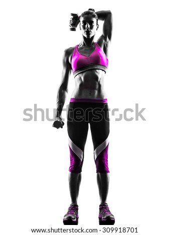 one caucasian woman exercising  Weights  fitness in studio silhouette isolated on white background - stock photo