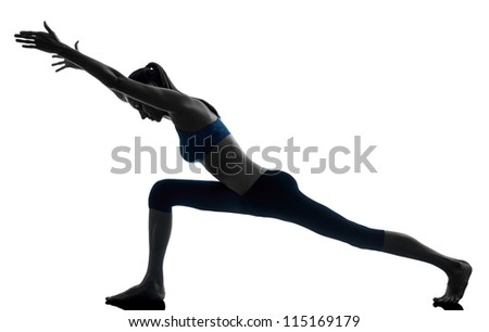 one caucasian woman exercising yoga in silhouette studio isolated on white background - stock photo