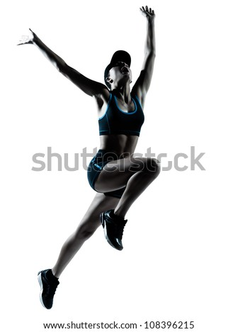 one caucasian woman runner jogger jumping in silhouette studio isolated on white background - stock photo