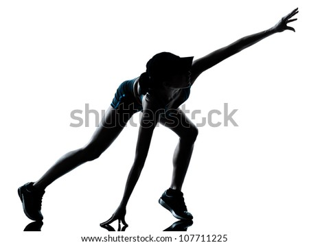 one caucasian woman runner jogger muscle strain cramp physical injury at legs in silhouette studio isolated on white background - stock photo