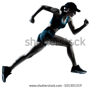 one caucasian woman runner jogger running in silhouette studio isolated on white background - stock photo