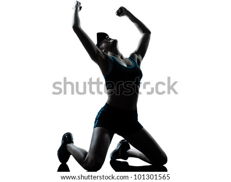 one caucasian woman runner jogger  winner victory in silhouette studio isolated on white background - stock photo