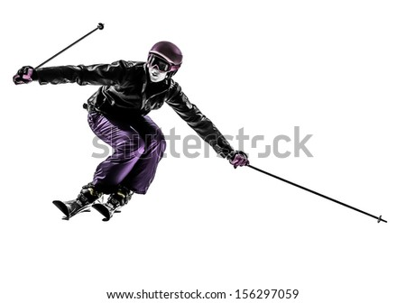 one caucasian woman skier skiing slaloming in silhouette on white background - stock photo