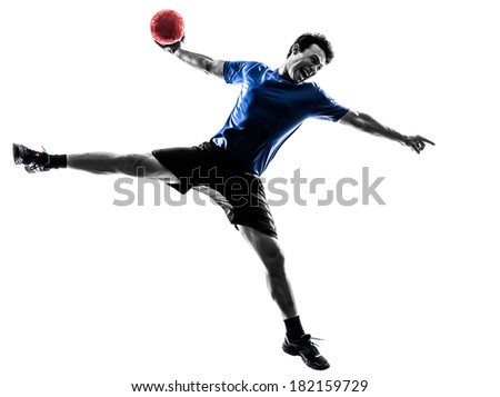 one caucasian young man exercising handball player in silhouette studio on white background - stock photo