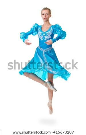 one caucasian young woman ballerina ballet dancer jumping on white background - stock photo