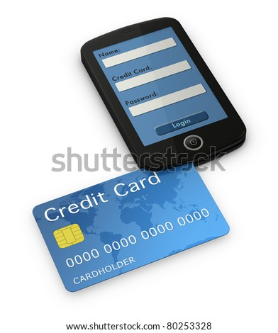 one cell phone with the display showing a online transaction login screen. There is a credit card that enters on the phone like a credit card reader (3d render) - stock photo