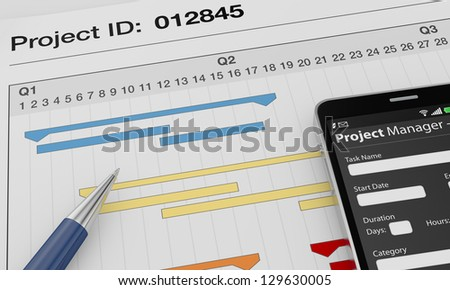 one cellphone with a project manager app and documents with gantt charts (3d render) - stock photo