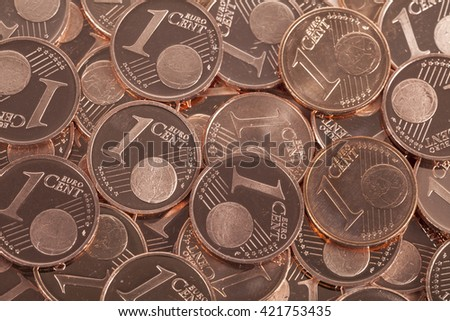 One cent coins background - stock photo