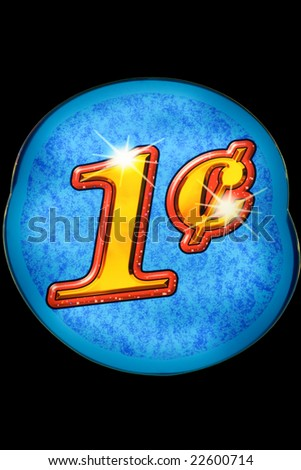 One cent - neon lights in casino - stock photo