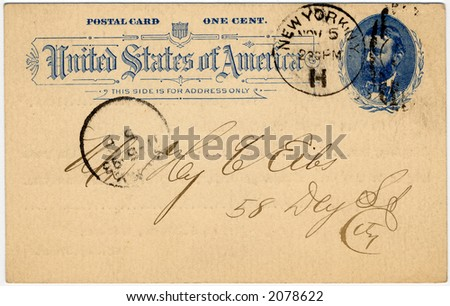 one cent 19th century US postcard postmarked 1893 great aged look
