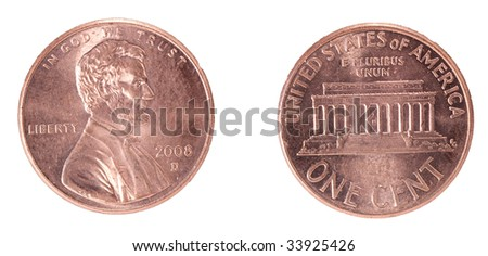 One cent US front and back - stock photo