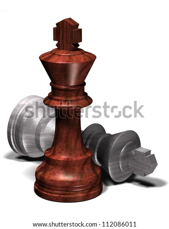 One chess king dominating another. - stock photo