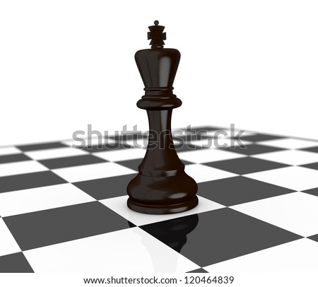 one chessboard with the black king piece (3d render) - stock photo