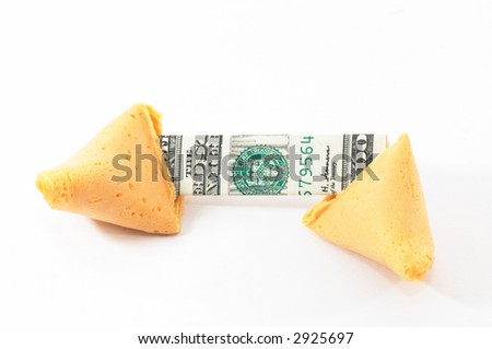One Chinese Fortune Cookie open with money, cash neatly folded inside the snack, on white background - stock photo