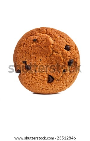 one chocolate chip cookie isolated on white - stock photo