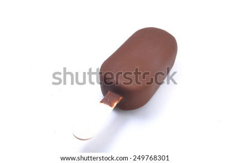 One chocolate vanilla ice cream. Isolated on a white background - stock photo