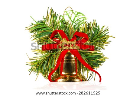 one christmas bell with ornaments on a white background - stock photo