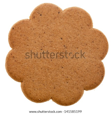 one christmas cookie isolated on a white background - stock photo