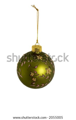 One Christmas ornament isolated over a white background