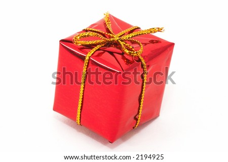 One Christmas present on white background. closeup with space for text - stock photo