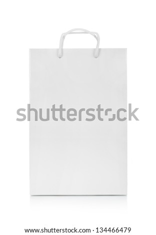 one classic white shopping bag - stock photo