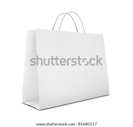 one classic white shopping bag (3d render) - stock photo