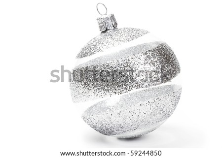 one clear with glitter striped christmas ball on white background - stock photo