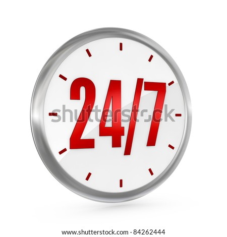 one clock with the numbers 24 and 7 on center, concept of full availability (3d render) - stock photo