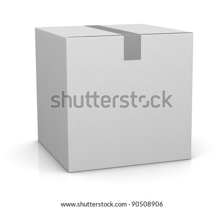 one closed carton box in white color (3d render) - stock photo