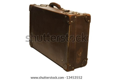 one closed leather suitcase on white background - stock photo