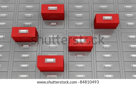 one closeup  view of a file drawer with open red drawer (3d render) - stock photo