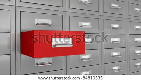 one closeup  view of a file drawer with open red drawer (3d render)