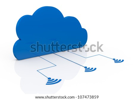 one cloud connected to three wireless symbols (3d render) - stock photo