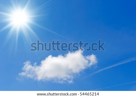 one cloud in a sunny sky - stock photo