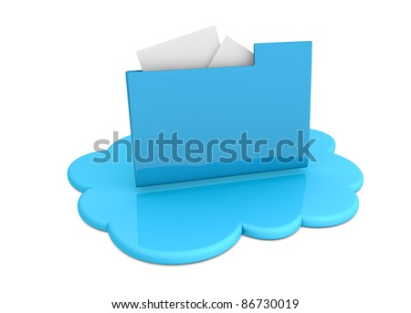 one cloud with a computer folder over it (3d render) - stock photo