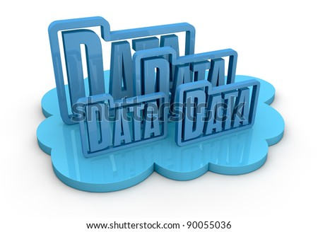 one cloud with some folder data icons on top, concept of remote data storage (3d render) - stock photo