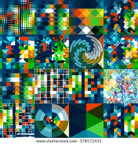 One color palette, multiple patterns. Collection of abstract geometric background tiles.