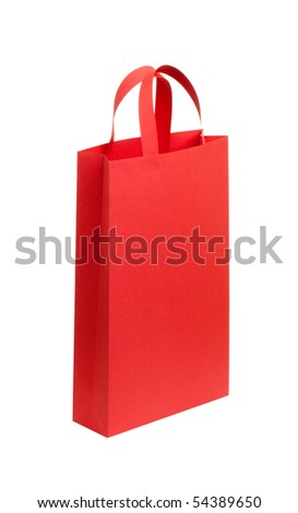 One color, red shopping bag isolated on white