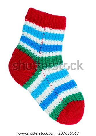 One colorful sock isolated on white background   - stock photo