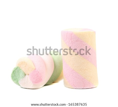 One colourful marshmallow. Close up. White background.