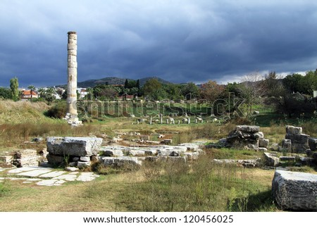 One column and ruins of temple of Artemis, Turkey