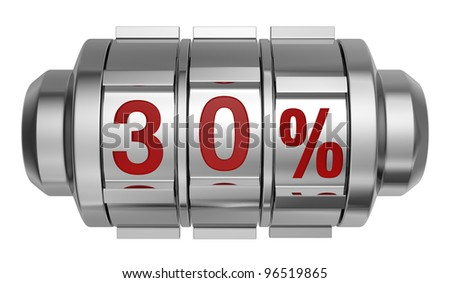 one combination lock with the number 30 and the percent symbol (3d render) - stock photo