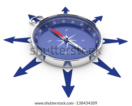 One compass in the middle of a circle of arrow pointing in different directions, image suitable for help concept or opportunities management. 3D render illustration