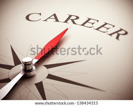 One compass needle pointing the word career, image suitable for career opportunities management. 3D render illustration. - stock photo