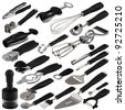 one complete set of various kitchen tools with handle black - stock photo