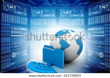 one computer folder icon with a world map inside it and the wireless symbol - stock photo