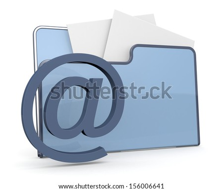 one computer folder icon with the email symbol (3d render) - stock photo